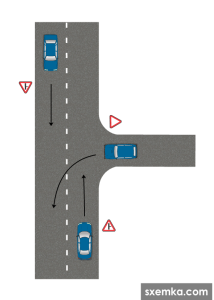 Выезд на перекресток с второстепенной дороги налево, через полосу