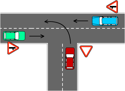 Поворот налево со второстепенной дороги